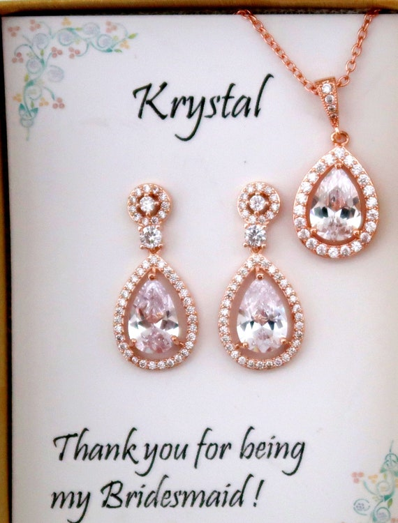 Rose Gold Bridal Jewelry Set,Wedding Jewelry,Mother in Law gift,Bridesmaid gift set,Bridal Jewelry,Cubic Zirconia Jewelry, Free Shipping USA
