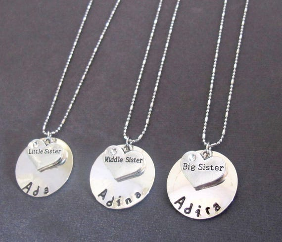 Sisters Necklace Set, Little Sister, Middle Sister,Big Sister Necklace, Personalized Three Sisters Hand Stamped Necklaces, Free Shipping USA