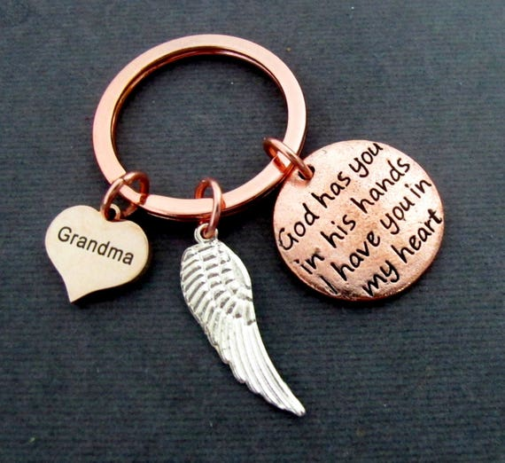 Memorial Keychain,Personalized Memorial Keychain,Rose Gold Key Chain,God Has You In His Hands Keychain,Remembrance Jewelry,Free Shipping USA