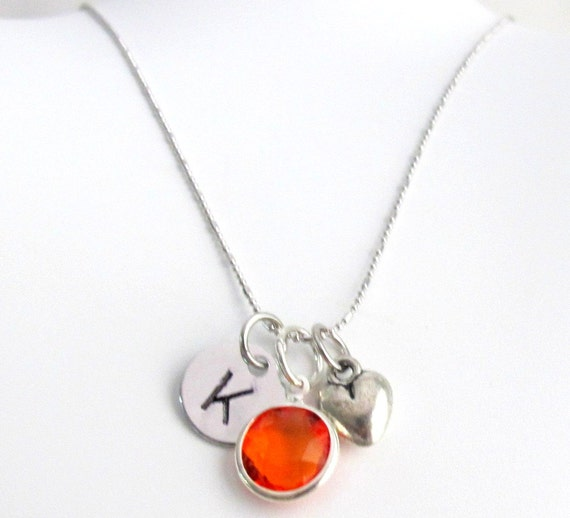 Puffy Heart Initial Birthstone Necklace, Personalized & Birthstone and initial, Gift for Teens Girls Free Shipping In USA