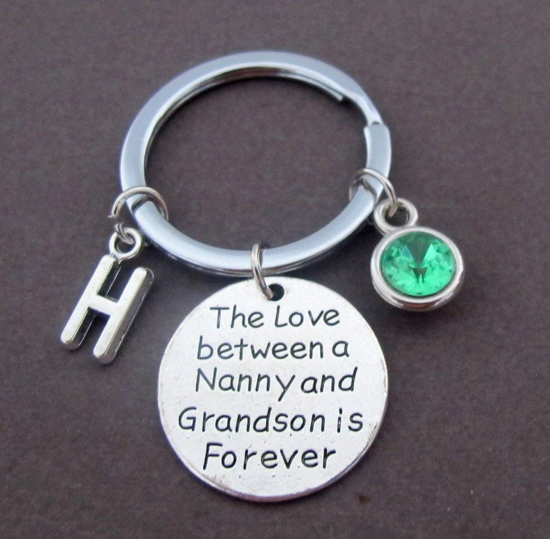 The Love between a Nanny and Grandson is Forever Keychain,Nanny gift Grandson gift Nanny and Grandson Jewelry Mother/'s Day Gift for Nanny
