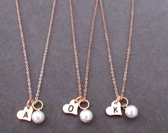 Rose Gold wedding necklace,Rose Gold Heart Initial,Anniversary gift for wife,Engagement gift,Bridesmaid gift,Gift for her, Free Shipping USA