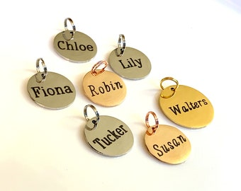 Name charm, Name or Date Charm. Personalized name charm, Customized charm, Personalized Custom Text or Name Tag Rose Gold, Gold or Silver