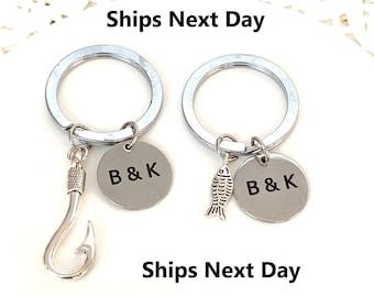 Fish & Hook Key Chain Set, Husband Wife, Girlfriend Boyfriend, Couples Jewelry gift, Anniversary Gift,Couples Keychain, Free Shipping USA
