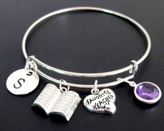 Personalize Teacher Jewelry,Favorite teacher gift,gift for teacher,personalized initial teacher bracelet,high school,Free shipping USA