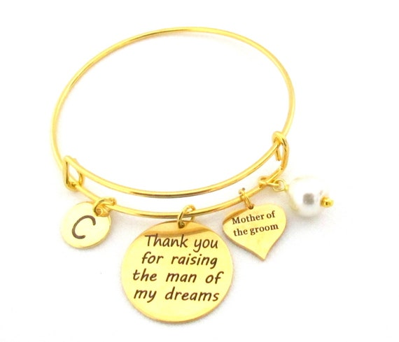 Mother in Law Gift Bangle,Thank You for raising the Man of my dreams,Thank You for raising the Woman of my dreams bracelet,Free Shipping USA