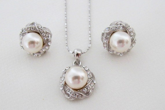 Ivory pearl pendant jewelry, wedding pearl  jewelry,bridesmaid pearl pendant earrings,Bridal,Curbic Zircon stud, earrings,Free shipping USA