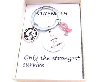 Survivor keyring,I m strong, personalized breast cancer survivor gift, pink ribbon, celebration keychain, cancer awareness,Free Shipping USA