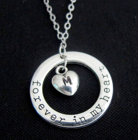 MEMORIAL Necklace, Memorial gift, Loss of a Loved One, Always in my Heart Memorial Sympathy Jewelry Silver Personalized Memorial Keepsake
