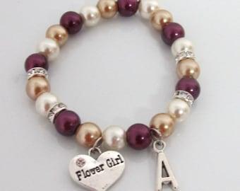 Flower girl bracelet,Personalized Flower Girl Jewelry,Flower girl gift,Asking Flower girl,Children Bracelet,Kids Bracelet, Free Shipping USA