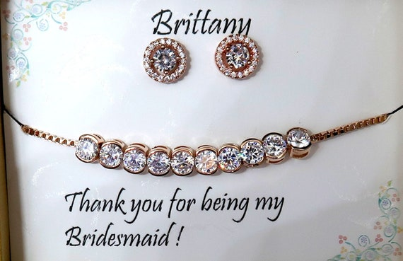 Mother of Groom gift,Rose Gold Wedding Bracelet Set,Bridesmaid Gift,Wedding Jewelry,Cubic Zirconia,Rose Gold Earrings,CZ Round Bracelet Set