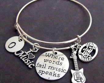 Where Words Fail Music Speaks, Personalized gift for Musician,Music Charms Bangle Bracelet,I love Music, Music Jewelry, Free Shipping In USA