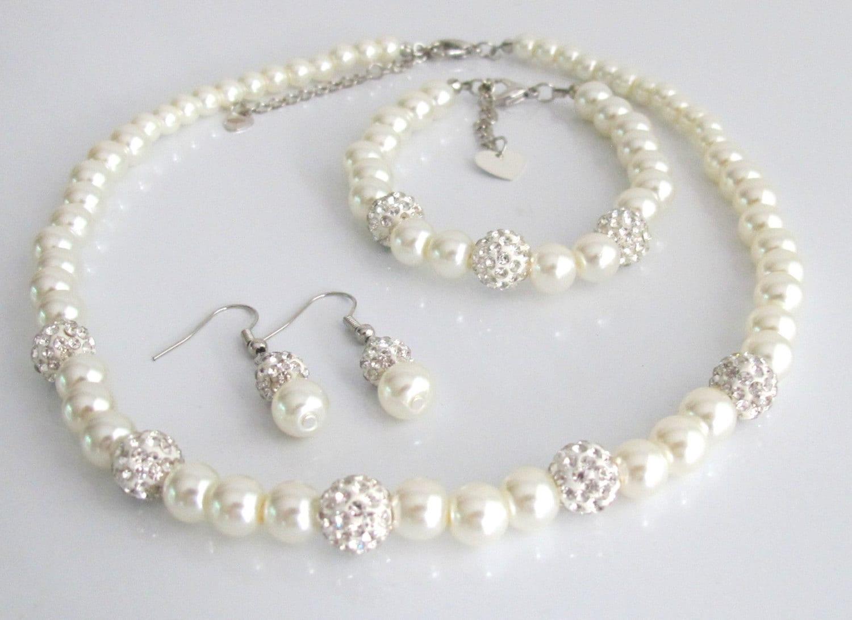 Flower Girl Jewelry-Glass Pearl Bracelet-Flower Girl Gift-Girl Bracelet-Children Bracelet-Pearl Rhinestone Spacer Flower Girl Bracelet