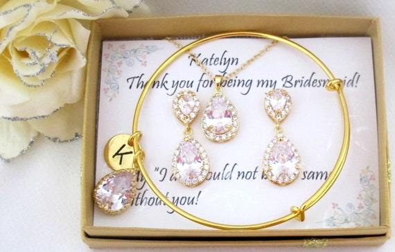 Personalized Bridesmaid Jewelry Bridemaid,Cubic Zirconia Earrings,Yellow gold,CZ Wedding Jewelry Set,Gold Bangle Bracelet, Free Shipping USA