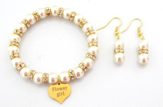 Gold Flower Girl Bracelet Set,Flower Girl Jewelry,Matron of Honor gift,Junior Bridesmaid Gift,Christmas Gift for Daughter, Free Shipping USA