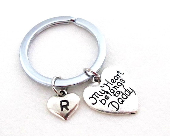 My Heart Belongs to Daddy,Dadddy Keychain,Gift for Daddy,Father's day gift,Dad Gift,Heart Pendant,Valentine's day Jewelry, Free Shipping USA
