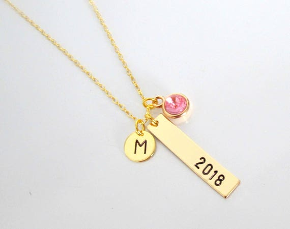 Graduate 2019 Necklace, Gold Bar Necklace,High School, College, University graduation, Graduation Jewelry,Gift for Her, Free Shipping USA