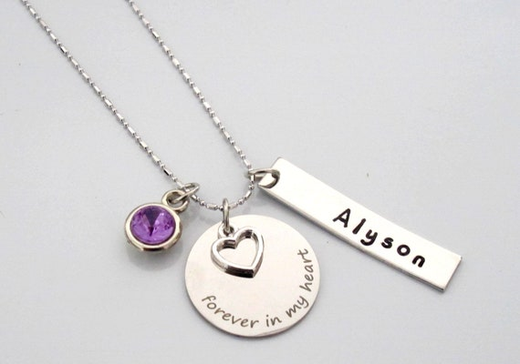 Personalized Forever In My Heart Birthmom Necklace,Memorial Necklace,Memorial Jewelry,Infant Loss,Mother Jewelry,Mother Gift,Sympathy Gift