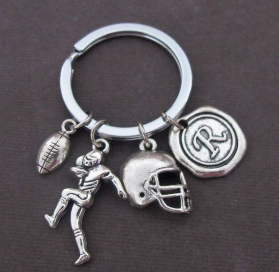 Football player keychain,Football Charm Keychain,Football helmet,Football keychain,Football Team Gift,High School Football,Free Shipping USA