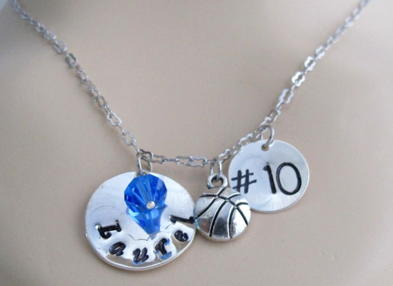 Sale Personalized BasketBall Jewelry Coach Gift  Player Number Girls Basketball Team Gift Necklace, Team sport necklace Free Shipping USA
