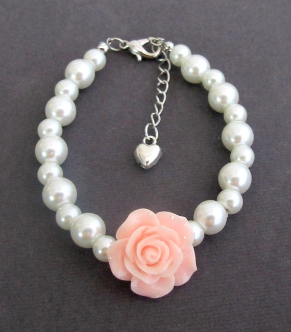 Rose Flower Braclet,Flower Girl Bracelet,Lite Pink Rose Flower,Pearl kids Bracelet,Ask Flower Girl,Flower Girl Jewelry, Free Shipping In USA