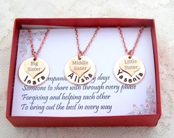 Sisters Necklace, Sisters Necklaces, Little Middle Big Sister Necklace, Personalized Three Sisters Hand Stamped Necklaces, Free Shipping USA