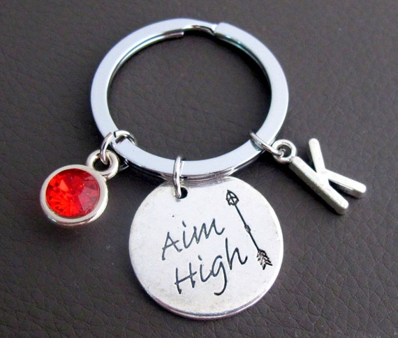 Aim High Keychain, Graduation Gift, Motivaltional Keychain, Aim High Jewelry, Graduation Jewelry, Inspirational gift Jewelry, Free Shipping