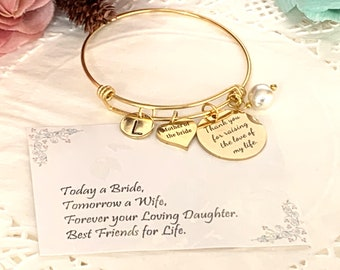 Mother of Groom Wedding gift, Mother In Law Bangle Jewelry,Gift from Bride, Mother of the bride gift, Wedding Gift, Rehearsal Dinner Present