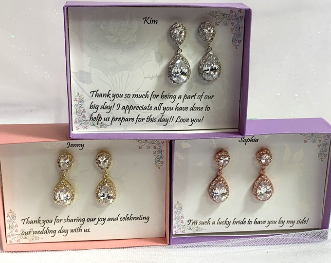 Bridesmaid gift, Clip on Bridesmaid earrings, Bridal Earrings, Wedding Earrings , Clip on Cubic Zirconia Earrings, Tear drop Clip On earring