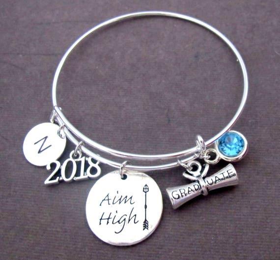 2019 Graduation Bangle, Aim High,Graduation Bangle, Personalized Graduation Bracelet,Graduation Degree,grad gift for her,Inspirational gift,