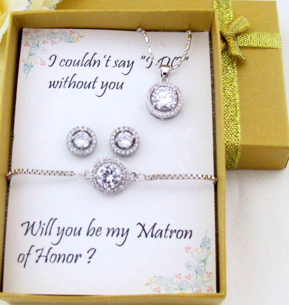 Mother of the Groom Gift,Clear White Cubic Zirconia Round Ear Studs,CZ earrings and bracelet set,Round CZ jewelry set,Free shipping In USA