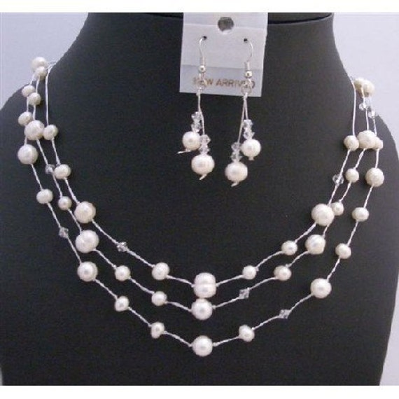 Three Stranded Silk Thread White Freshwater Pearls Clear Crystals Bridal Swarovski Clear Crystals Jewelry  Free Shipping In USA
