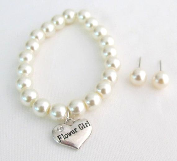 Flower Girl Bracelet Wedding Jewelry Bracelet With Stud Earrings Junior Bridesmaid Custom Bracelet Free Shipping In USA