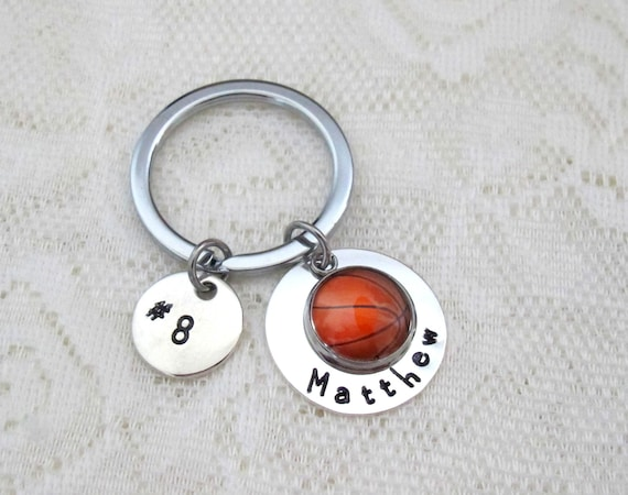 Basketball Keychain, Girls Basketball Gift  Basketball Team Gifts, Hand Stamped Personalized Basketball Keychain, Senior Night Gift,