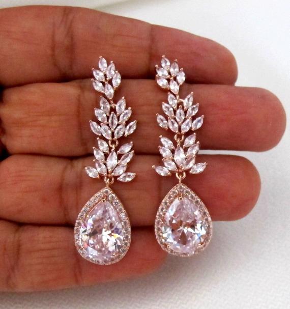 Bridal Earrings Crystal Bridal Earrings, Prom Earrings, Leaf Dangle Drop Earrings, Long Chandelier Earrings, prom earrings, CZ Leaf Dangle