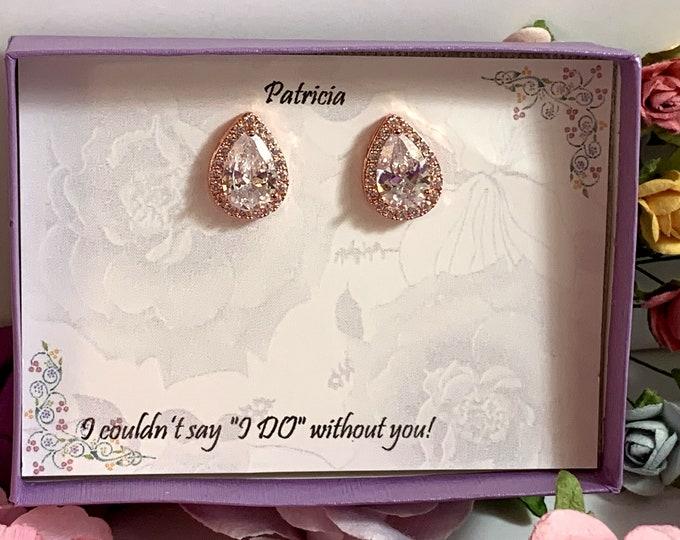Custom Bridesmaid gift, Bridesmaid Earrings, Wedding Earrings, teardrop CZ earrings, Bridesmaid jewelry, Teardrop Post Earrings, Bridal gift
