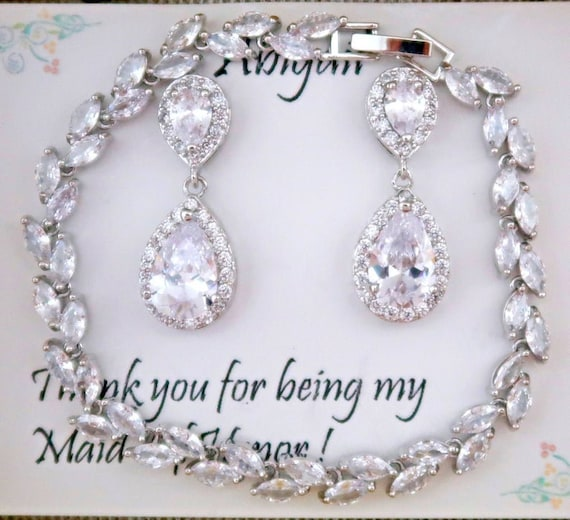 Jewelry for:Christina George's Bridesmaid Silver Bracelet with Earrings