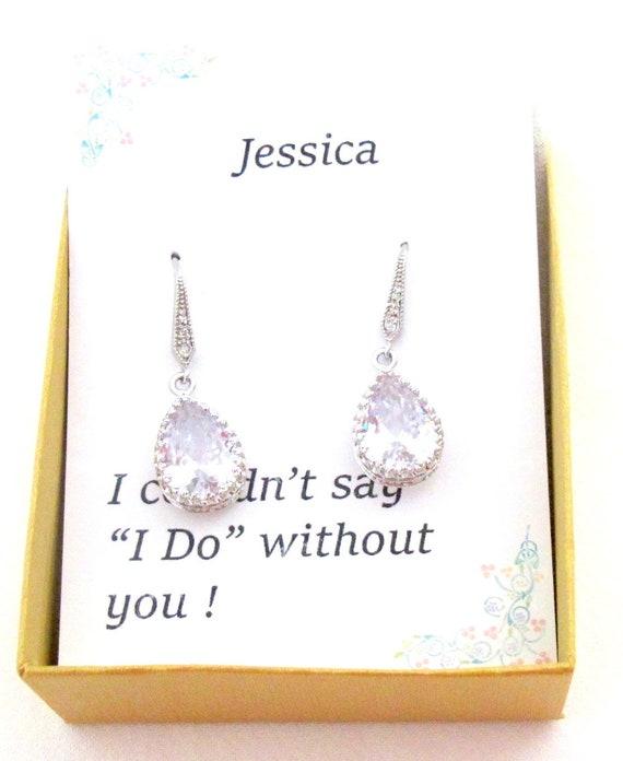 Custom color, Bridesmaid Earrings gift set, Wedding Earrings,Cubic Zirconia,Teardrop Earrings,Tear drop cubic zirconia necklace earrings set