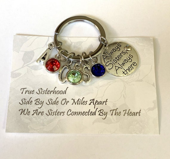 Always Sisters Always there charm Key Chain,Sister Keychain,Sisters jewelry,Sisters gift, Forever Sisters Forever friends,Free Shipping USA