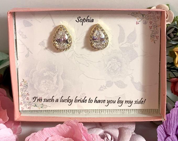 Custom Bridesmaid gifts, Personalized bridesmaid earrings, wedding earrings, tear drop earrings, bridal party gift, Bridesmaid proposal gift