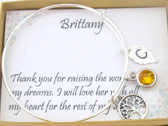 Mother of Bride gift,Mother of Groom gift,Gift for Mom,Grandma,Family Tree,Silver Bangle,Future Mother In Law Wedding gift,Free Shipping USA