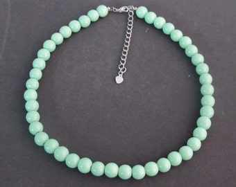 Mint Green necklace,Mint Green pearl necklace,Wedding Necklace jewelry,bridesmaid necklace Mint Green Bead Jewelry Free Shipping In USA
