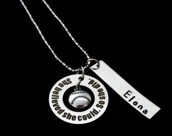 Softball Gift Baseball Necklace-Sports Jewelry-Girls Softball Team Gifts-Softball charm,Baseball Gift, Sports jewelry,Sports Necklace,