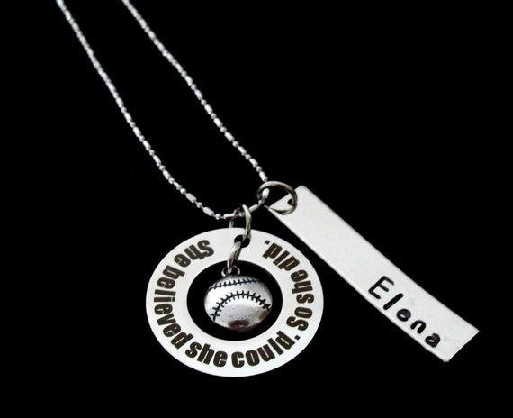 Softball Gift Baseball Necklace-Sports Jewelry-Girls Softball Team Gifts-Softball charm,Baseball Gift, Sports jewelry,Sports Necklace,