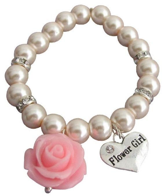 Flower Girl Bracelet,Pink Flower Bracelet,Flower Girl Gift, Blush Pink Pearl Wedding Bracelet,Flower Girl/Kids Jewelry, Free Shipping In USA