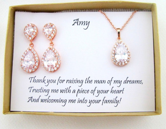 Personalized bridesmaid gifts, Mother of the groom jewelry gift,  Bridesmaid earrings,Cubic Zirconia Earrings, Tear drop bridesmaid earrings