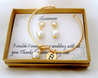 Personalized Bridesmaid gift set, Wedding Jewelry, Bridesmaid Earrings Bracelet set, Bridesmaid Jewelry, Maid of Honor gift, Mother gift