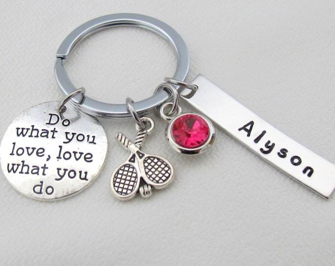 Personalized Sports Keychain,Sports Gift,Tennis keychain,Tennis Jewelry,Personalized sports jewelry,Custom Athlete Jewelry. Team Jewelry