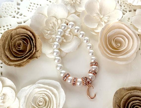 Roe Gold Initial Bracelet,Rose Gold Bracelet, Rose Gold Rhinestone Bracelet,Rose  flower girl bracelet Rose Gold Initial,Free Shipping USA