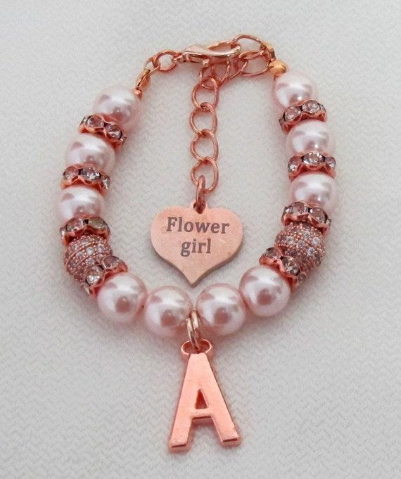 Rose Gold Flower Girl Bracelet, Personalized Flower Girl Jewelry,Flower Girl Gift,Wedding Party Gift,Bridal Party,,Flower girl bracelet